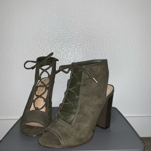 Shoes - Lace Up Suede Booties / Open Toe / Summer Sandals